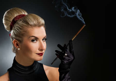 noir: Charming lady with mouthpiece