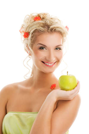 Beautiful young woman with ripe green apple. Spring concept Stock Photo - 4231157