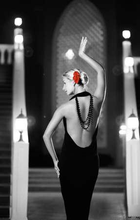 flamenco dress: Monochrome picture of woman dancing flamenco