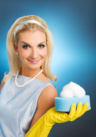 housewife gloves: Beautiful happy housewife. Retro portrait Stock Photo