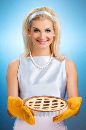 Beautiful woman holding hot italian pie. Retro stylized portrait Stock Photo - 4355133