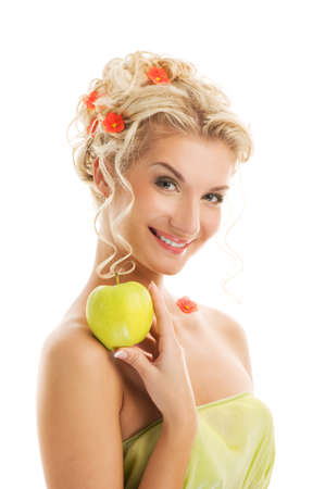 Beautiful young woman with ripe green apple. Spring concept Stock Photo - 4420760