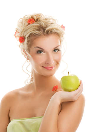 Beautiful young woman with ripe green apple. Spring concept Stock Photo - 4450470