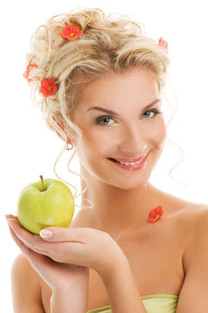 Beautiful young woman with ripe green apple. Spring concept Stock Photo - 4450479