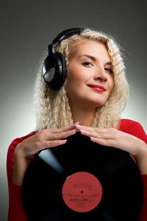 Beautiful female DJ Stock Photo - 4450477