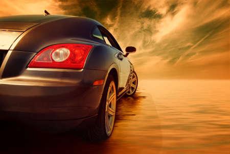 luxury car: Sport car reflected in water