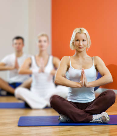 Group of people doing yoga exercise Stock Photo - 4478448