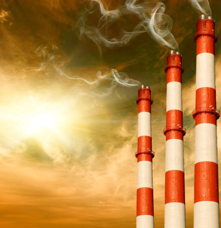 cloud industry: Power plants. Global warming concept Stock Photo