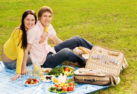 Young couple at romantic picnic Stock Photo - 4545650