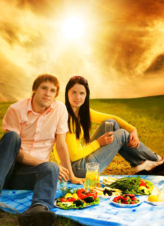 Young couple at romantic picnic Stock Photo - 4545645
