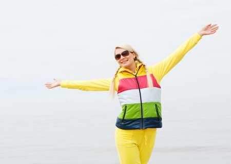 Happy woman outdoors photo