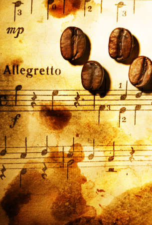Coffee beans on a grungy musical background Stock Photo - 4644012