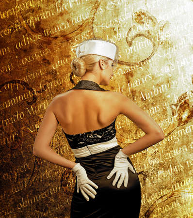 Sexy woman over abstract vintage background photo