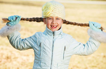 toothless: Happy toothless girl outdoors