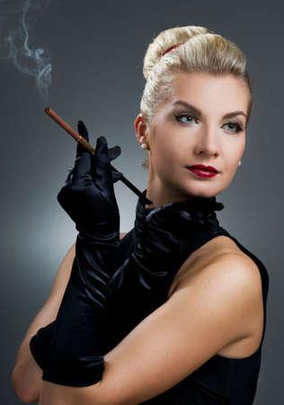 noir: Charming lady smoking cigarette