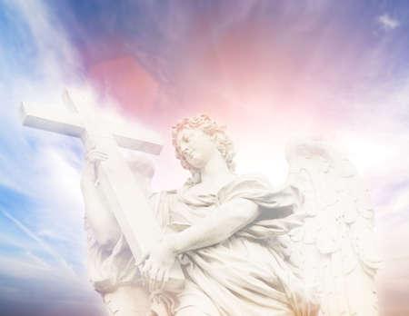 archangel: Statue of Angel on the SantAngelo Bridge (Italy, Rome)