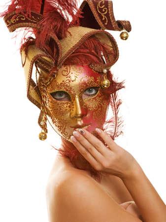 femme masqu�e: Belle jeune femme dans le masque de carnaval Banque d'images