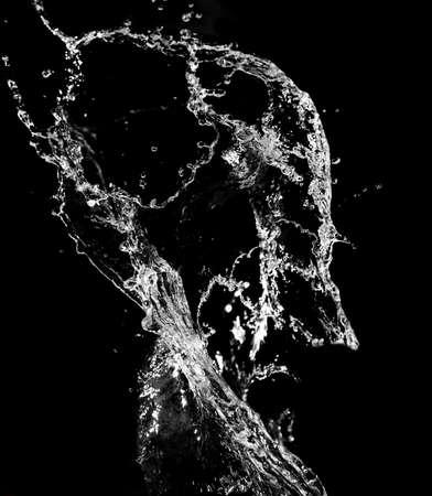water black: Stylish water splash. Isolated on black background