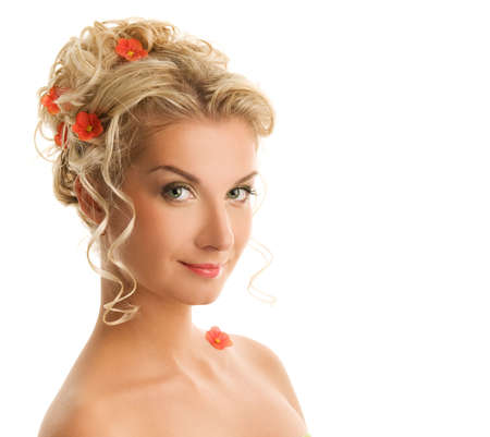 Beautiful young woman with flowers in her hair close-up portrait Stock Photo - 4872531