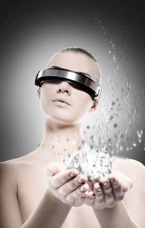Female robot. Nanotechnology concept photo
