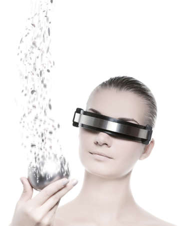cyber woman: Female robot. Nanotechnology concept Stock Photo