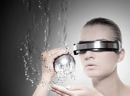 Female robot. Nanotechnology concept Stock Photo