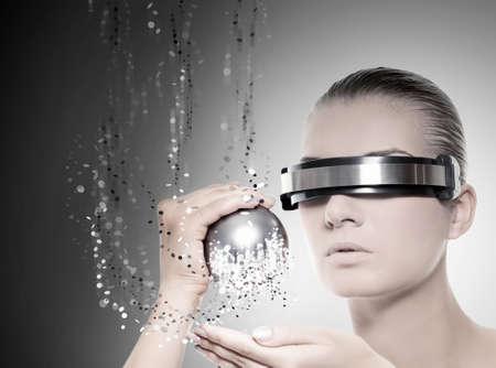 нано: Female robot. Nanotechnology concept Фото со стока