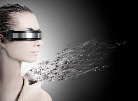 distortion: Female robot. Nanotechnology concept Stock Photo