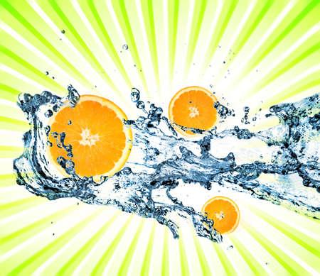 Splashing water with oranges Stock Photo - 4899568
