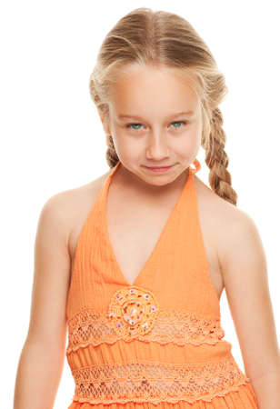 Little girl making funny face Stock Photo - 5091815