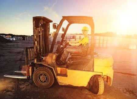 Female worker driving cargo truck photo