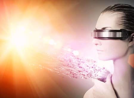 Mujeres robot. Concepto de la nanotecnología Foto de archivo - 5112199