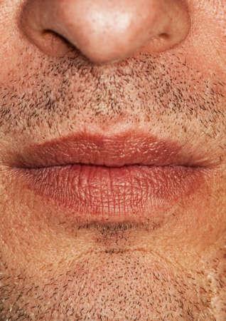 Close-up shot of a part of mans face photo