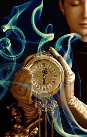 Sepia picture of a beutiful girl with a clock (focus on clock) photo