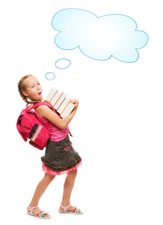 Happy little schoolgirl with a stack of heavy books Stock Photo - 5281801