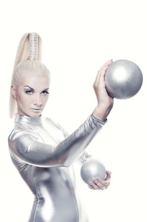 Beautiful cyber woman with silver balls Stock Photo - 5281820