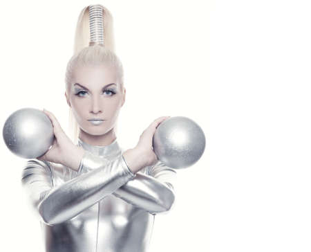 Beautiful cyber woman with silver balls Stock Photo - 5281832