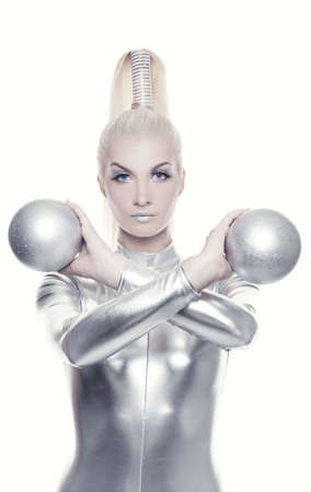 Beautiful cyber woman with silver balls photo