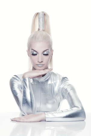 Hermosa mujer cibern�tica Foto de archivo - 5281829