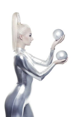cyber woman: Beautiful cyber woman with silver balls