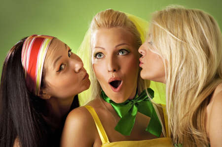 Three young woman close-up portrait photo