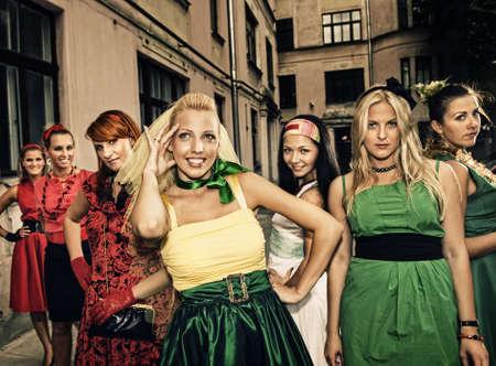 hen party: Group of beautiful women retro portrait