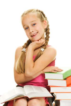 Smiling little schoolgirl Stock Photo - 5299656