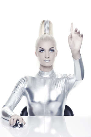 futuristic woman: Beautiful cyber woman pointing at something