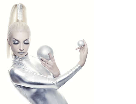 space robot: Beautiful cyber woman with silver balls