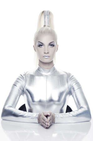 futuristic woman: Beautiful cyber woman