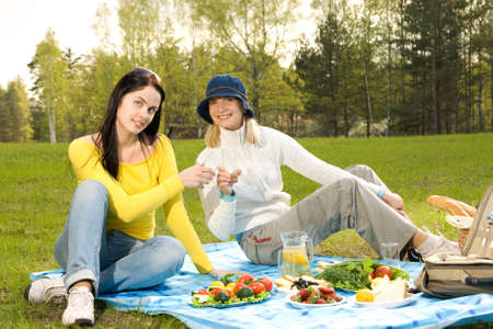 Two beautiful girls at picnic  Stock Photo - 5308040