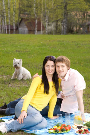 Young couple at romantic picnic     photo