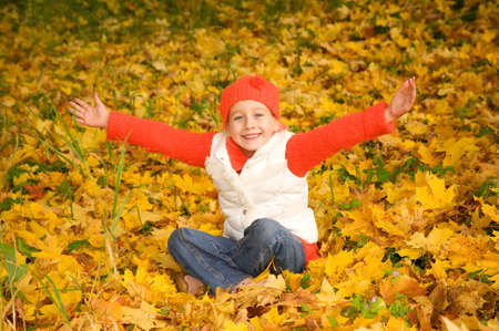 Beautiful little girl with autumn leaves outdoors     photo