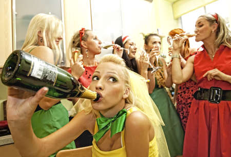 people partying: Happy women drinking champagne     Stock Photo